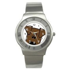Peeping Chocolate Lab Stainless Steel Watch