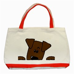 Peeping Chocolate Lab Classic Tote Bag (Red)