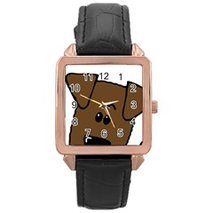 Peeping Chocolate Lab Rose Gold Leather Watch