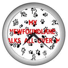 My Newfie Walks On Me Wall Clocks (Silver)