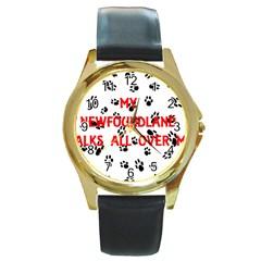 My Newfie Walks On Me Round Gold Metal Watch