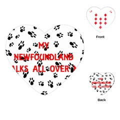 My Newfie Walks On Me Playing Cards (Heart)