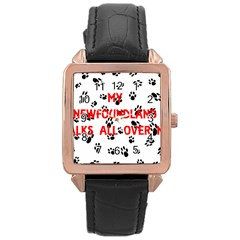 My Newfie Walks On Me Rose Gold Leather Watch