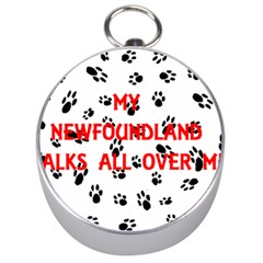 My Newfie Walks On Me Silver Compasses