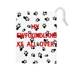 My Newfie Walks On Me Drawstring Pouches (Large)