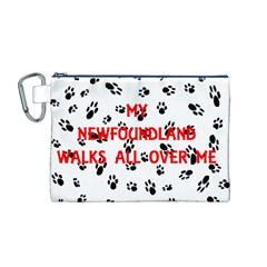 My Newfie Walks On Me Canvas Cosmetic Bag (M)