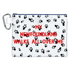 My Newfie Walks On Me Canvas Cosmetic Bag (XXL)