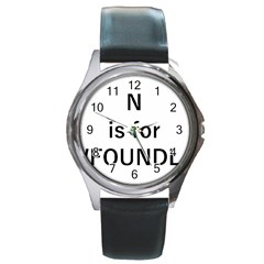 N Is For Newfoundland Round Metal Watch