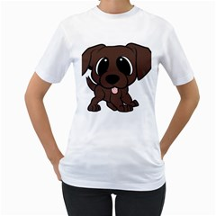 Newfie Brown Cartoon Women s T-Shirt (White) (Two Sided)