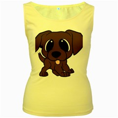 Newfie Brown Cartoon Women s Yellow Tank Top