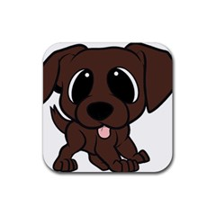 Newfie Brown Cartoon Rubber Square Coaster (4 pack)