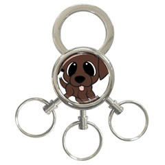 Newfie Brown Cartoon 3-Ring Key Chains