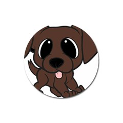 Newfie Brown Cartoon Magnet 3  (Round)