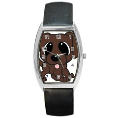 Newfie Brown Cartoon Barrel Style Metal Watch