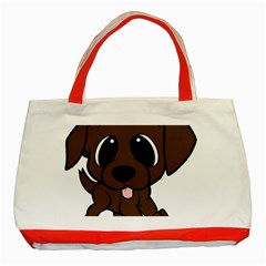 Newfie Brown Cartoon Classic Tote Bag (Red)