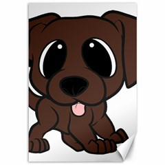 Newfie Brown Cartoon Canvas 12  x 18