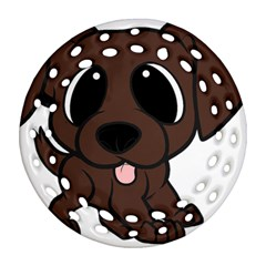Newfie Brown Cartoon Round Filigree Ornament (Two Sides)