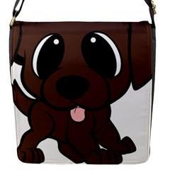 Newfie Brown Cartoon Flap Messenger Bag (S)