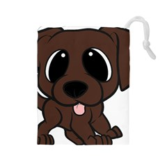 Newfie Brown Cartoon Drawstring Pouches (large)