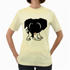 Newfie Cartoon Black White Women s Yellow T-Shirt