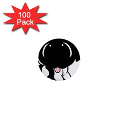 Newfie Cartoon Black White 1  Mini Buttons (100 pack)