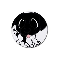 Newfie Cartoon Black White Rubber Coaster (Round)