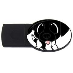Newfie Cartoon Black White USB Flash Drive Oval (1 GB)