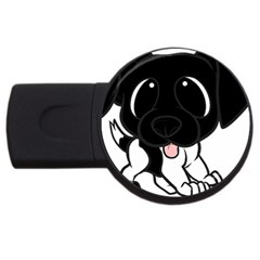 Newfie Cartoon Black White USB Flash Drive Round (4 GB)