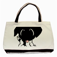 Newfie Cartoon Black White Basic Tote Bag (Two Sides)
