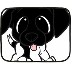 Newfie Cartoon Black White Fleece Blanket (Mini)