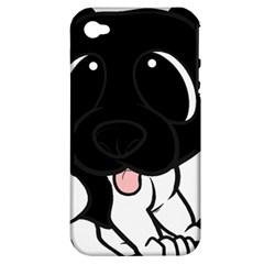 Newfie Cartoon Black White Apple iPhone 4/4S Hardshell Case (PC+Silicone)