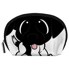 Newfie Cartoon Black White Accessory Pouches (Large)