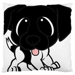 Newfie Cartoon Black White Large Flano Cushion Case (Two Sides)