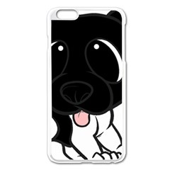 Newfie Cartoon Black White Apple iPhone 6 Plus/6S Plus Enamel White Case