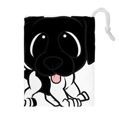 Newfie Cartoon Black White Drawstring Pouches (Extra Large)