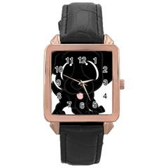 Newfie Cartoon Rose Gold Leather Watch