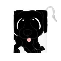 Newfie Cartoon Drawstring Pouches (Large)