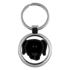 Newfie Dog Head Cartoon Key Chains (Round)
