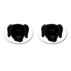 Newfie Dog Head Cartoon Cufflinks (Oval)