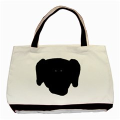 Newfie Dog Head Cartoon Basic Tote Bag (Two Sides)