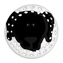 Newfie Dog Head Cartoon Round Filigree Ornament (Two Sides)