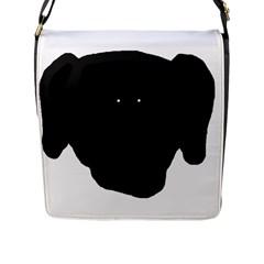 Newfie Dog Head Cartoon Flap Messenger Bag (L)