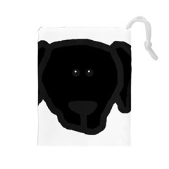 Newfie Dog Head Cartoon Drawstring Pouches (Large)