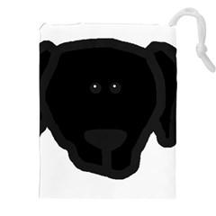 Newfie Dog Head Cartoon Drawstring Pouches (XXL)