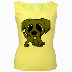 Newfie Gray Cartoon Women s Yellow Tank Top