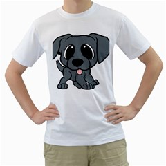 Newfie Gray Cartoon Men s T-Shirt (White) (Two Sided)
