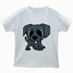 Newfie Gray Cartoon Kids White T-Shirts