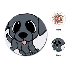 Newfie Gray Cartoon Playing Cards (Round)