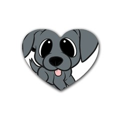 Newfie Gray Cartoon Rubber Coaster (Heart)