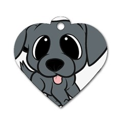 Newfie Gray Cartoon Dog Tag Heart (One Side)